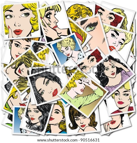 Illustration with collection of portraits blondes and brunettes - stock photo