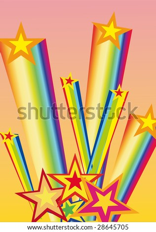 Illustration with colored firework from star