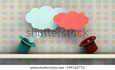 illustration with communication symbols or imagination with hat - stock photo