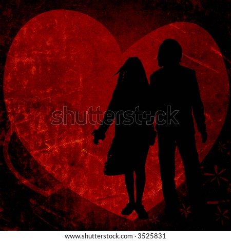 illustration with couple silhouettes on a textured background