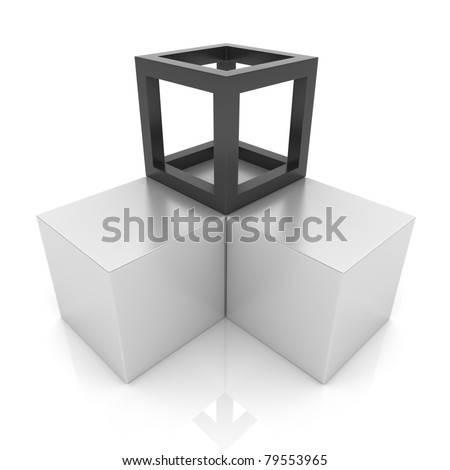 Illustration with cubes union concept (black collection)