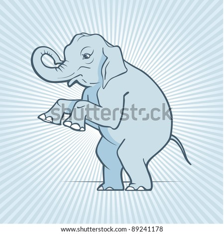 illustration with cute cartoon elephant - stock photo