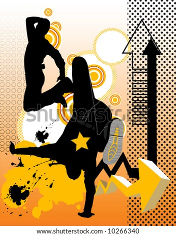 Illustration with dancing young men. Music concept. - stock photo