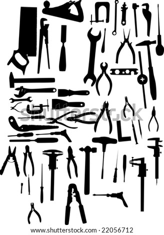 illustration with different tools silhouettes isolated on white background - stock photo