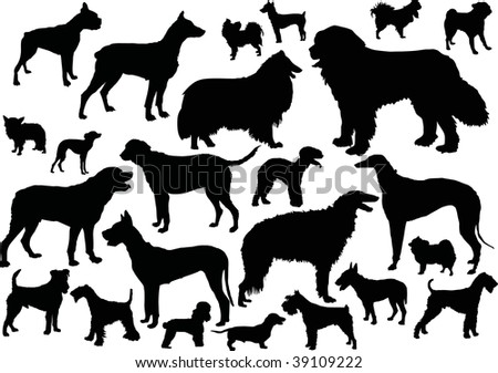 illustration with dog silhouettes isolated on white background