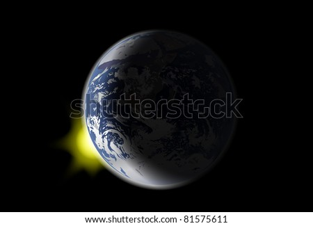 illustration with earth and sun light on black background - stock photo
