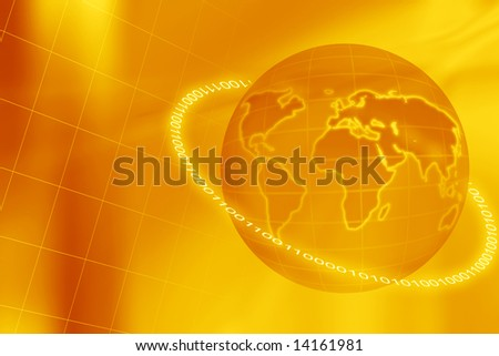 illustration with earth globe, grid and binary numbers