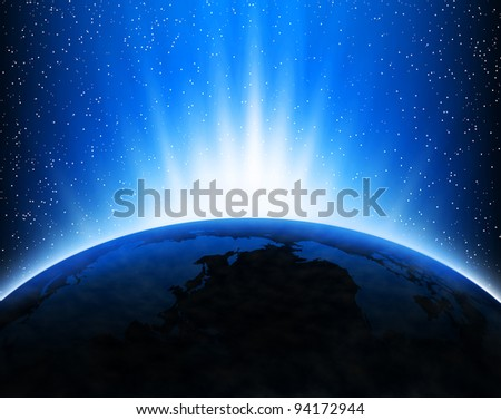Illustration with Earth in space, light rays and stars