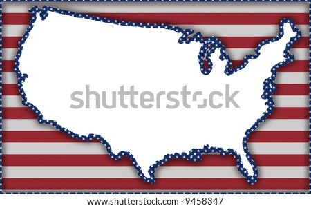 illustration with flag and shape of United States for 2008 presidential elections - stock photo