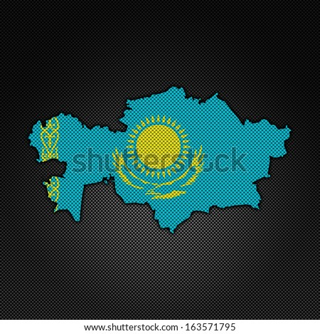 Illustration with flag in map on carbon background - Kazakhstan