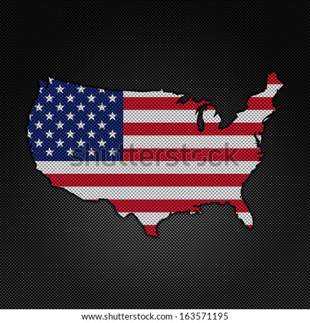 Illustration with flag in map on carbon background - United States