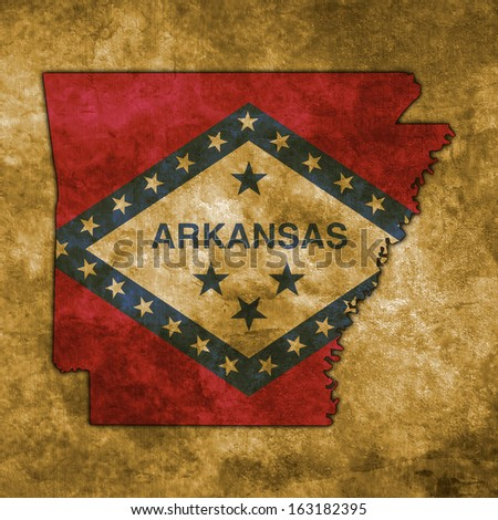 Illustration with flag in map on grunge background - Arkansas - stock photo