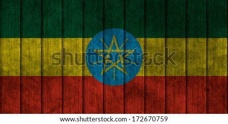 Illustration with flag in map on grunge background - Ethiopia - stock photo