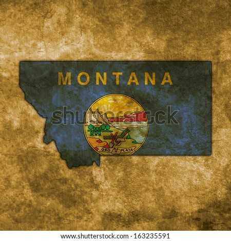Illustration with flag in map on grunge background - Montana - stock photo