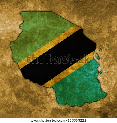 Illustration with flag in map on grunge background - Tanzania