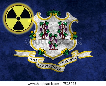 Illustration with flag on grunge background with nuclear sign - Connecticut