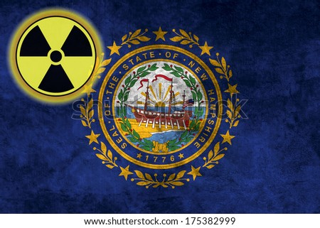 Illustration with flag on grunge background with nuclear sign - New Hampshire