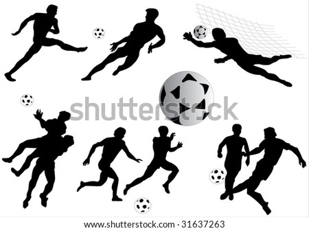 illustration with football player silhouettes isolated on white background