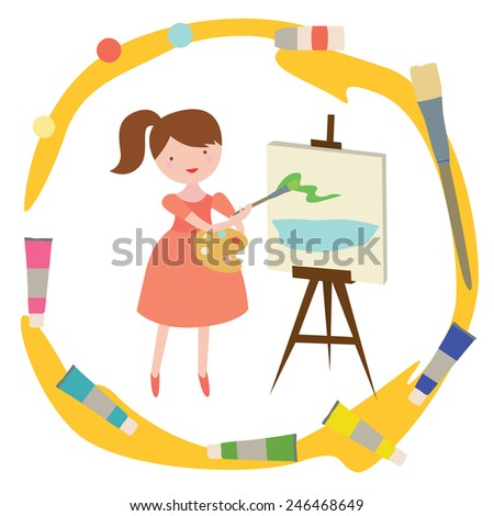 Illustration with girl artist in cartoon style with frame from tools