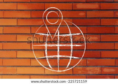 illustration with globe and geo tagging localisation sign - stock photo