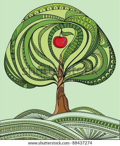 Illustration with green tree and red apple - stock photo