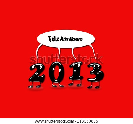 Illustration with 2013 Happy new year with a red background.