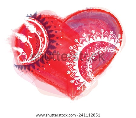 Illustration with heart and ornaments - stock photo