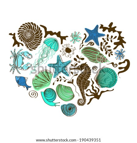 Illustration with heart of hand drawn sea animals and shells - stock photo