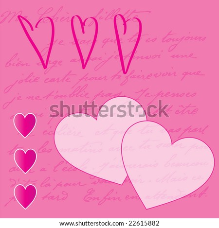 illustration with hearts and handwriting
