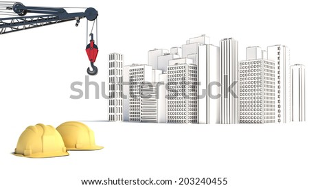 illustration with house building and cranes - stock photo