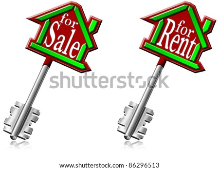 Illustration with house keys or generic building and written for sale and for rent - stock photo