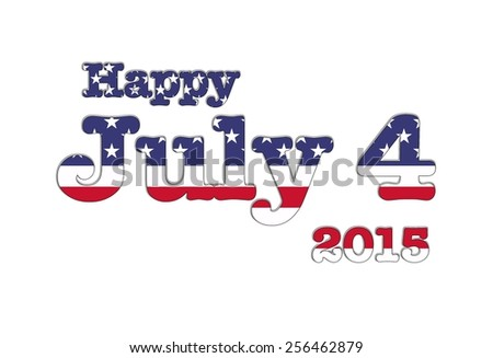 Illustration with July 4 USA flag on white background. - stock photo