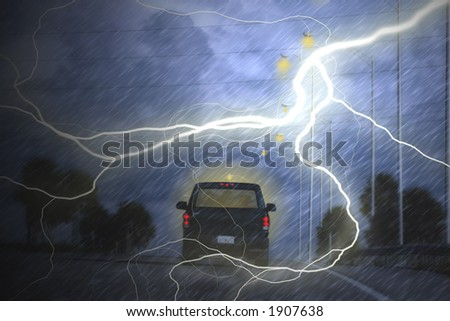 Illustration with light effects to simulate lightning.