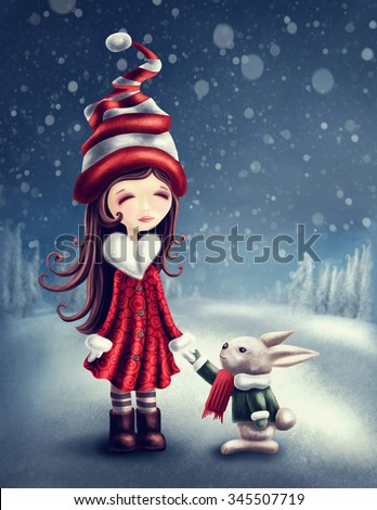 Illustration with little winter fairy girl with a hare - stock photo