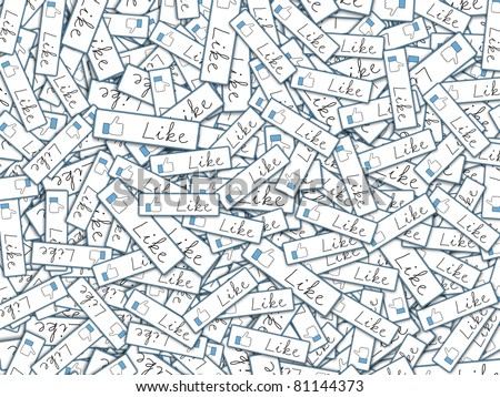 Illustration with lots of like tags depicting global communication and social networking - stock photo