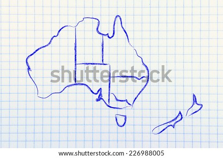 illustration with map of the borders within Australia