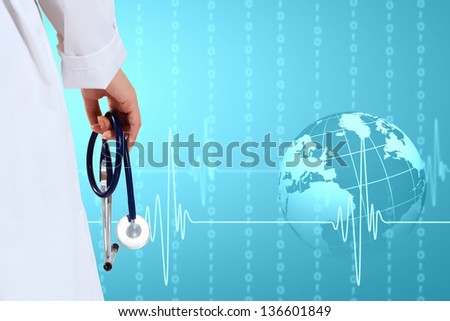 Illustration with medical background having heart beat, doctor and stethoscope - stock photo