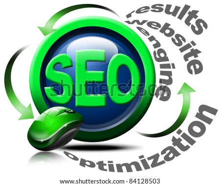Illustration with mouse and written SEO, optimization, results, website, engine - stock photo