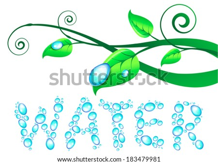 Illustration with one big water drop, consisting of small splashes and branches with leafs and dew drops. Protection of the nature. Design element for eco concept.  - stock photo