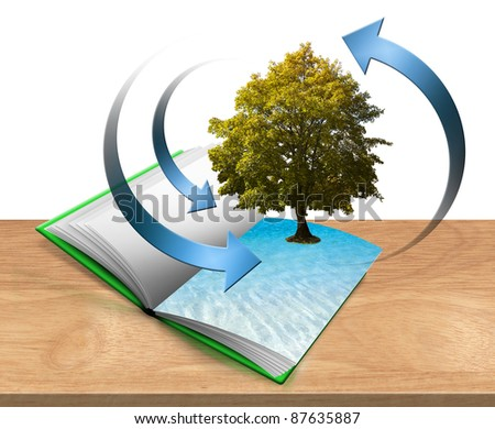 Illustration with open book on the table with trees and water - stock photo