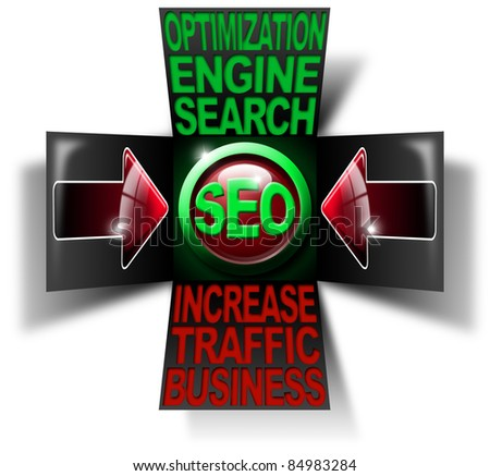 Illustration with open cube, icon S.E.O., 2 red arrows and written business search engine optimization traffic increase - stock photo