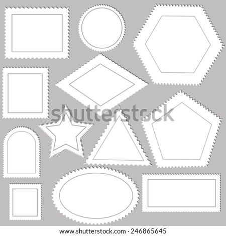 illustration  with postage stamps on grey  background - stock photo