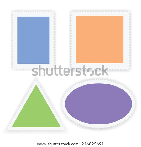 illustration  with postage stamps on white  background - stock photo