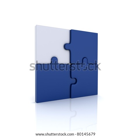 Illustration with puzzle elements and key puzzle (blue collection) - stock photo