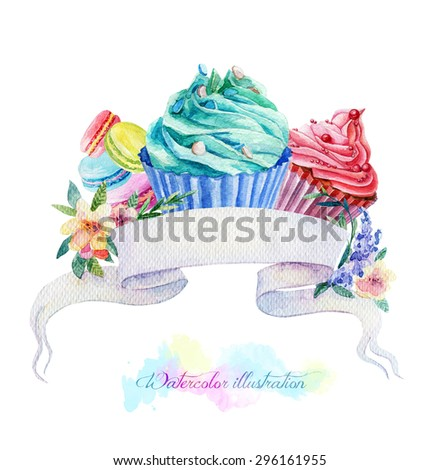 Illustration with ribbon for text and muffins. Watercolor illustration. Cupcakes, macaroon with mint and cherry cream. Art banner for your design. - stock photo