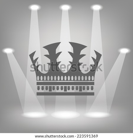 illustration with silhouette of crown  on a spot lights  background - stock photo
