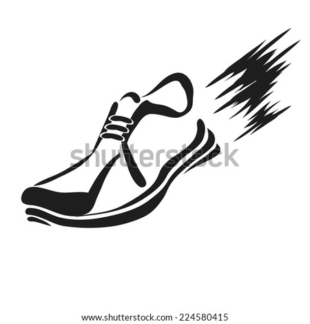 illustration with silhouette of running shoe icon on a white background - stock photo