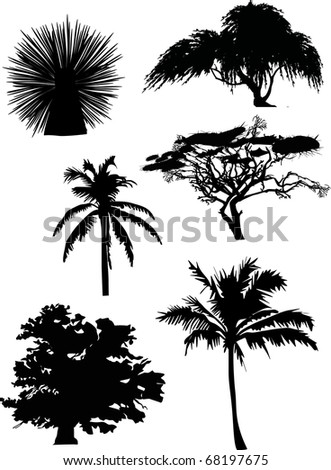 illustration with six tree silhouettes isolated on white background - stock photo