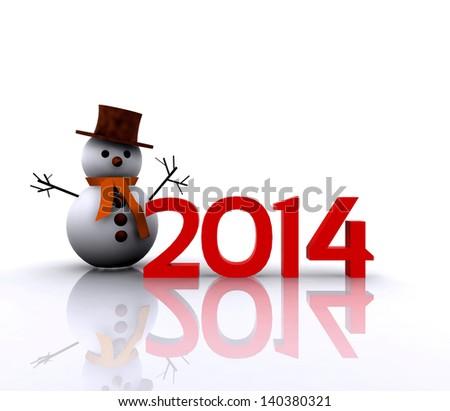 illustration - 2014 with snowman - stock photo