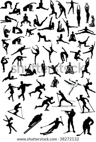 illustration with sportsmen collection isolated on white background